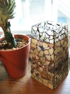 Mosaic Vase Light Pinks Handmade w Stained Glass by GreenRoofGirl, $30.00