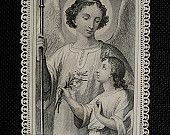 Antique holy card Paper lace Prayer to Guardian Angel religious