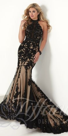 Striking Lace Dress by Tiffany Designs. Colors: Black/Nude, Ivory/Nude. Size: 0-12