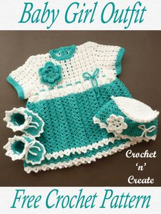 Crochet Baby Girl Outfit - Sweet little dress, shoes and hat pattern, any baby girl would look lovely in this adorable set. Crocheted in light worsted yarn, you can get the free crochet pattern below in UK and USA format below. Crochet Baby Dress Pattern, Crochet Baby Clothes, Newborn Crochet, Crochet Baby Hats, Baby Blanket Crochet, Crochet For Kids, Crochet Baby Outfits, Crochet Pony, Free Crochet