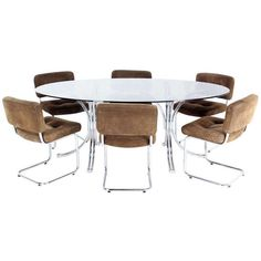Roche Bobois Mid Century Modern Oval Glass Dining Table With Six... (u20ac