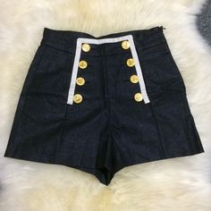 Forever 21 Navy Blue Sailor Shorts These are a fun pair of sailor shorts for anytime of the year! Love the vibrant yellow/gold buttons! Also these are high waisted shorts with a zipper on the side. Forever 21 Shorts