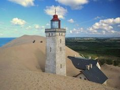 lighthouse, Denmark abandoned in 2002 when years of coastal erosion and high sand dunes swallowed up the lighthouse. pic.twitter.com/3XmZqN7wR1