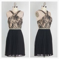 """NEW Modcloth """"Fancy a Dance?"""" Dress NWOT! The black-and-beige lace bodice, chic cutouts, and crisscrossing back straps meet a brilliant rhinestone waistband above the black, pleated chiffon skirt, while bust cups and a full lining keep you supported and swishy song after song. - 100% Polyester. Shell fabric does not provide stretch. Lining fabric provides stretch. - Dry clean. - Fully lined. Back zipper with hook and eye closure. Bust cups. - Length: 35""""  NO TRADES ModCloth Dresses"""