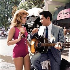 SERENADING ELVIS, A GUITAR AND ANN MARGARET IN PINK.