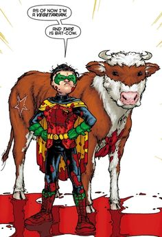 Damian Wayne (Robin) and Bat-Cow - Batman Inc.