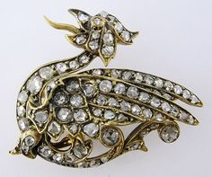 Antique Victorian 14K Yellow Gold Rose-cut Diamond Griffin Dragon Watch Pin Brooch