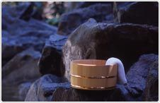 Bamboo bucket from a Japanese hot springs.