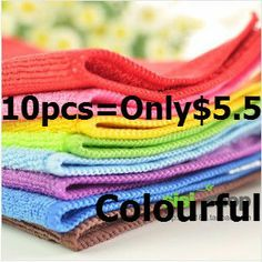 10pcs/lot Free shipping Car Styling Car Care Microfiber Duster  Child Small Facecloth cleaning towel sponge cloth for lada cars $5.50