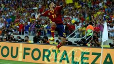 FORTALEZA, BRAZIL - JUNE 27: Jesus Navas of Spain celebrates scoring the winning penalty in a shootout during the FIFA Confederations Cup Brazil 2013 Semi Final match between Spain and Italy at Castelao on June 27, 2013 in Fortaleza, Brazil. (Photo by Robert Cianflone/Getty Images)