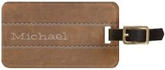 Faux Leather Name Luggage Tag