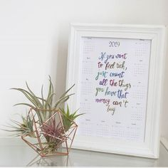 #2019 #calendar #verapaperlab #calligraphy #quote #tillandsia #plantlover #airplant #greenlife #thinkgreen Calligraphy Quotes, 2019 Calendar, Green Life, Air Plants, Letter Board, Paper Crafts, Frame, Modern, Instagram