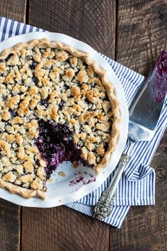Wild Blueberry Pie with Almond Oat Crumble by gatherand dine: Sweet wild blueberries and an almond paste crumble. #Pie #Crumble #Blueberry #Oatmeal #Almond_Paste