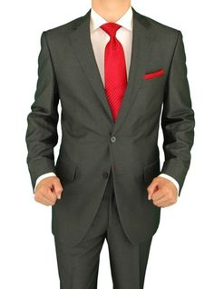 Salvatore Exte Men's 2 Button Sharkskin Charcoal Gray Suit Gray