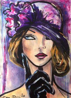 Portrait au gant noir - Peinture, 29x42 cm ©2014 par Dam Domido - Art déco, Papier, Femmes, art déco, portrait, peinture expressionniste