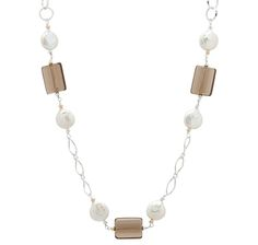 Coin Pearls & Smokey Quartz Sterling Silver Necklace  $349.99