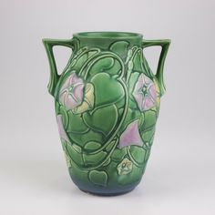 A pretty example of this popular pattern. Marks: No maker's mark, underglaze handwritten Weller Pottery, Roseville Pottery, Pottery Vase, Rose Vase, Blue Orchids, Line Patterns, Green Fashion, Floral Flowers, Makers Mark
