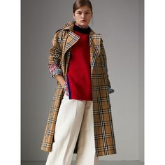 Vintage Check Cotton Trench Coat in Antique Yellow - Women   Burberry  United Kingdom 12fd79a3fd2