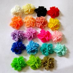 16mm  Resin Rose Flower Bouquet Cabochons-TEN You pick. $2,99, via Etsy.