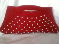 FELTED RED BAG With Pearls by YARNARTWORLD on Etsy, $75.00