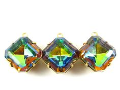 2  Vintage Glass Square Octagon Stones in 1 Ring by waytobead $3.70/pr