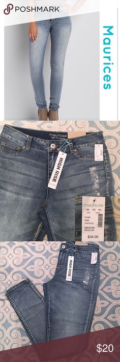 """🎉NWT- Jeggings🎉 NEW WITH TAGS!! 💕Maurices Brand High Rise Jeggings, light wash, Size Medium, 34"""" inseam, Sits At Waist, button and zipper along with font and back pockets, nice stretch, fits best with sizes 7/8 and 9/10 💕 These also look adorable rolled up!! 😘 Maurices Jeans Skinny"""