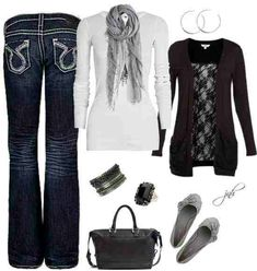 Jeans, white, black and gray.