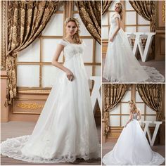 Empire Waist Plus Size Wedding Dress 2013--love the Lacey bottom...