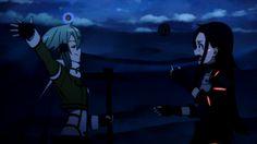 this i thought was so cute sinon-yeah i am pretty crazy *then hugs kirito * kirito- oh really hehehe *think i am dead*