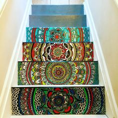 Hi! I am a self-taught artist in Columbus, OH. When I moved into my home in February, the stairs were painted a flat gray. I decided to spice them up and began painting a mandala on one of the stairs.