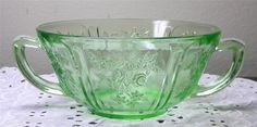 Federal Glass Co.~Sharon/Cabbage Rose~Green Depression Glass Cream/Soup Bowl