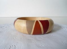 burnt orange and wood bangle