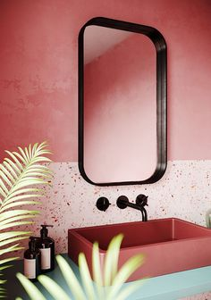 "Consider This: A Pink Bathroom - Honestly WTF - - If you were to suggest a ""millennial pink bathroom"" to me a couple of years ago, I would have rolled my eyes in distaste. But now, the thought of a pink bathroom is rather alluring…. Bathroom Plants, Bathroom Shelves, Bathroom Colors, Small Bathroom, Bathroom Pink, Zen Bathroom, Paint Bathroom, Rental Bathroom, Tropical Bathroom"