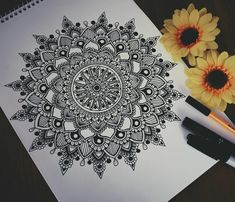 Another black and white doodles with added sunflowers because why not? ‍♂️ #mandala#zentangle#sunflowers
