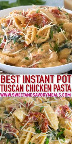 Instant Pot Tuscan Chicken Pasta is very easy to make, creamy and delicious with perfect juicy chicken, sun-dried tomatoes and spinach. day dinner instant pot Instant Pot Tuscan Chicken Pasta [VIDEO] - Sweet and Savory Meals Instant Pot Pasta Recipe, Instant Pot Dinner Recipes, Recipes Dinner, Summer Crock Pot Recipes, Instant Pot Meals, Chicken Breast Instant Pot Recipes, Soup Recipes, Chicken Recipes, Healthy Recipes