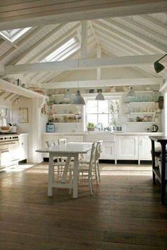 White &turquoise kitchen