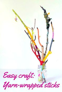 This yarn craft is a simple, fun and frugal way to craft with nature. The final wool-wrapped sticks make beautiful decorations for your home.