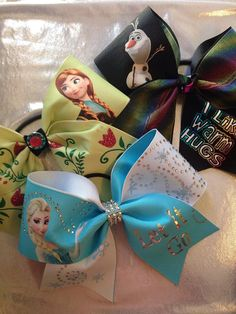 Frozen Inspired SET of 3 Cheer Bows by PixieDustPaiges on Etsy, $45.00