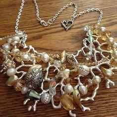 Silver-Coral-Branch-Chic-Necklace-w-Golden-Pearls-Golden-Swarovski-Crystals
