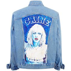 """""""DANDELION GIRL"""" HAND-PAINTED DENIM JACKET ($2,245) ❤ liked on Polyvore featuring outerwear, jackets, denim jacket, blue denim jacket, blue jean jacket, blue jackets and jean jacket"""