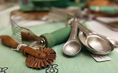 Antiques pastry cutters and measuring spoons