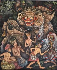 Items similar to Calonarang Barong Dance Balinese Traditional Painting Acrylic on Canvas Original Hand Painted By Artist Ubud Bali Art on Etsy Traditional Paintings, Traditional Art, Barong Bali, Bali Painting, Indonesian Art, Batik Art, Thai Art, Dance Art, Old Art