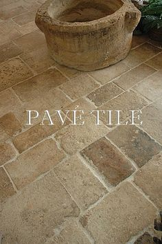 Reclaimed French Limestone - Antique Dalle de Bourgogne - Traditional - Spaces - New York - Pavé Tile, Wood & Stone, Inc. ***** I love the tumbled gritty look of this tile. Patio Tiles, Patio Flooring, Brick Flooring, Kitchen Flooring, Flooring Ideas, Limestone Flooring, Wooden Flooring, Outdoor Tiles Floor, Travertine Floors