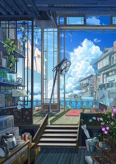 The world i wish to live in studio ghibli background, art background, anime scenery Art And Illustration, Aesthetic Art, Aesthetic Anime, Fantasy Landscape, Fantasy Art, Landscape Art, Landscape Photography, Arte 8 Bits, Anime Scenery Wallpaper