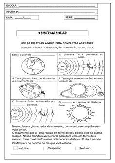 São 5 atividades em forma de sequência didática para imprimir com o tema: sistema solar. Além de introdução da temática, há muitas atividades a serem desenvolvidas.