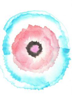 Blue Pink 5 Original Painting Small Watercolour Home Decor Minimal Nursery