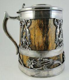 saint louis silver co stein German Beer Mug, German Beer Steins, Wooden Beer Mug, Beer Mugs, German Decor, Grandeur Nature, Home Brewing, Mug Cup, Vintage Industrial