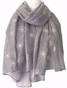 Grey Floral Scarf Silver Flowers Wrap Ladies Foil Dandelion Flower Shawl New Scarves Uk, Summer Scarves, Womens Scarves, Grey Scarf, Long Scarf, Iranian Women Fashion, Lady Grey, Scarf Design, Floral Scarf