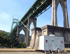 LuxuryRestroomTrailers.com in Cathedral Park, Portland, Oregon under the St. Johns Bridge.....one of the best places to be married in the USA....but they don't have bathrooms!!! Not even for the bride! Skip the port-a-potty and go with Luxury Restroom Trailer by Privy Chambers! Just the best! Heating, air conditioning, running water, a sound system, indoor outdoor lighting, JUST INCREDIBLE