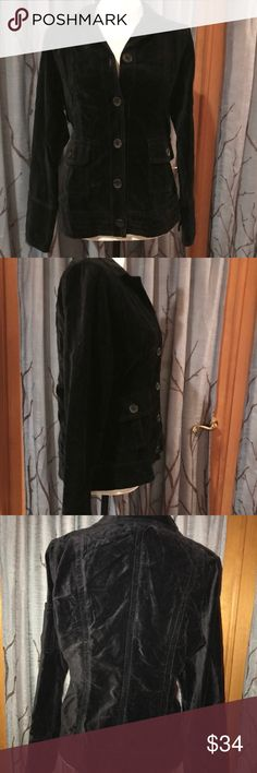 CAbi M #649 black cotton velveteen button up coat CAbi size Medium cotton velveteen jacket. # 649 Black velvet button up jacket with contrast stitching at bottom and cuffs CAbi Jackets & Coats